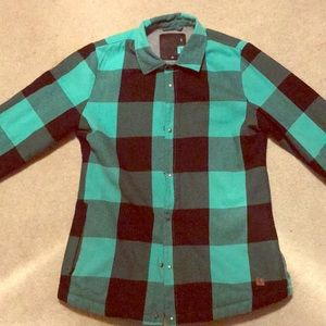 Volcom insulated flannel jacket- teal